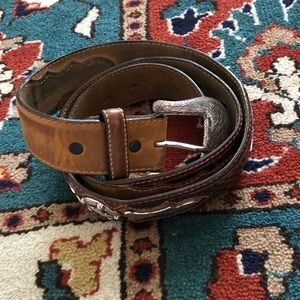 """Brown leather belt with """"silver"""" star accents"""